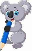 Cartoon koala holding pencil — Vector de stock