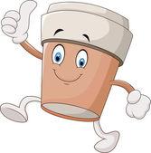 Cartoon coffee cup giving thumbs up — Stok Vektör