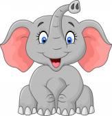Cute elephant cartoon sitting — Stock Vector