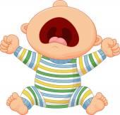 Cartoon baby boy crying — Stock Vector