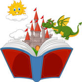 Story book with cartoon castle, dragon and sun — Stock Vector