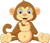 Cartoon cute monkey clapping his hands — Stock Vector