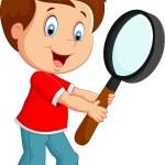 Boy cartoon holding a magnifier — Stock Vector #72456589