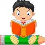 Cartoon little boy reading a book — Stock Vector #72456615