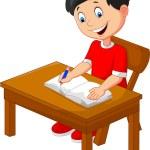 Cartoon little boy writing — Stock Vector #72456669
