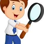 Boy cartoon holding a magnifier — Stock Vector #72456719