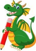 Cartoon green dragon holding red pencil — Stock Vector
