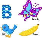 B alphabet cartoon — Stock Vector