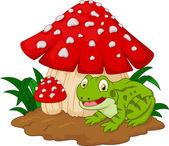 Cartoon frog basking under mushrooms — Stock Vector