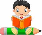Cartoon little boy reading a book — Stock Vector