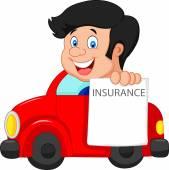 Cartoon little boy notify to join insurance — Stock Vector