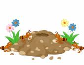 Cartoon Anthill in the forest land — Stock Vector