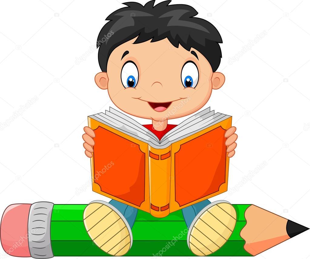 Petit garçon lisant un livre de dessin animé — Image vectorielle