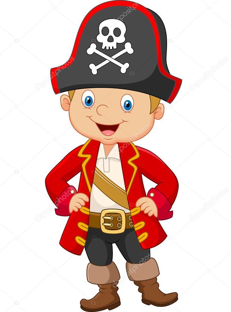 Cartone animato piccolo capitano pirata di ragazzo