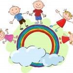 Little kids cartoon standing on the rainbow — Stock Vector #73709937