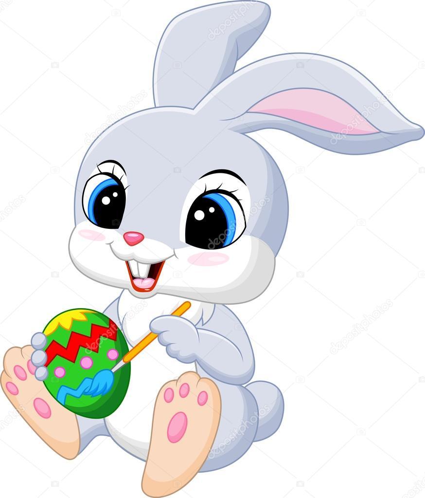 矢量图的可爱的复活节兔子卡通绘画蛋— vector by tigatelu