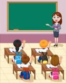Cartoon little kids a study in the classroom — Stock Vector