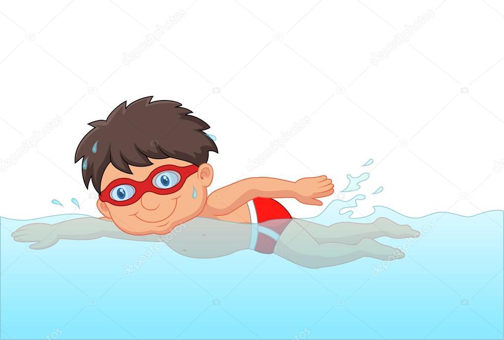 Dibujos Animados De Peque 241 O Nadador De Chico En La Piscina