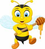 Cartoon bee holding honey — 图库矢量图片