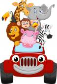 Cartoon little animal happy with red car — Stock Vector
