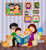 Cartoon read a story book in the living room — Stock Vector