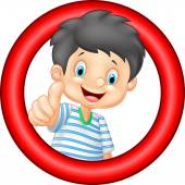 Cartoon little boy giving thumb up — Stock Vector