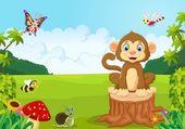 Happy cartoon monkey in the forest — Vecteur