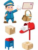 Cartoon Mail carrier with bag and letter — Stock Vector