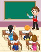 Cartoon little kid a study in the classroom — Stock Vector