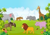 Cartoon Collection animal africa in the jungle — Stock Vector