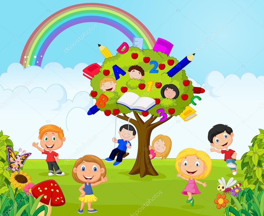 niños animados jugando