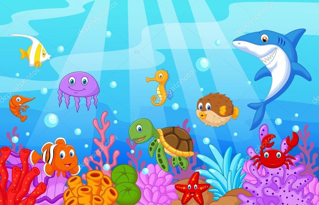 Dibujos Animados De Vida De Mar Con Peces Colección Set