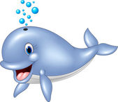Cartoon blue whale isolated on white background — Stock Vector