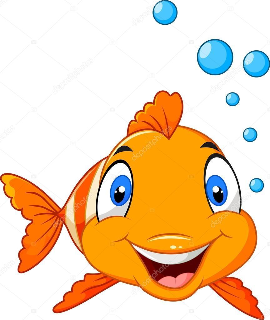 lindo pez payaso dibujos animados bajo el agua y burbuja