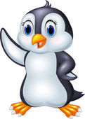 Cartoon penguin waving isolated on white background — Stock Vector