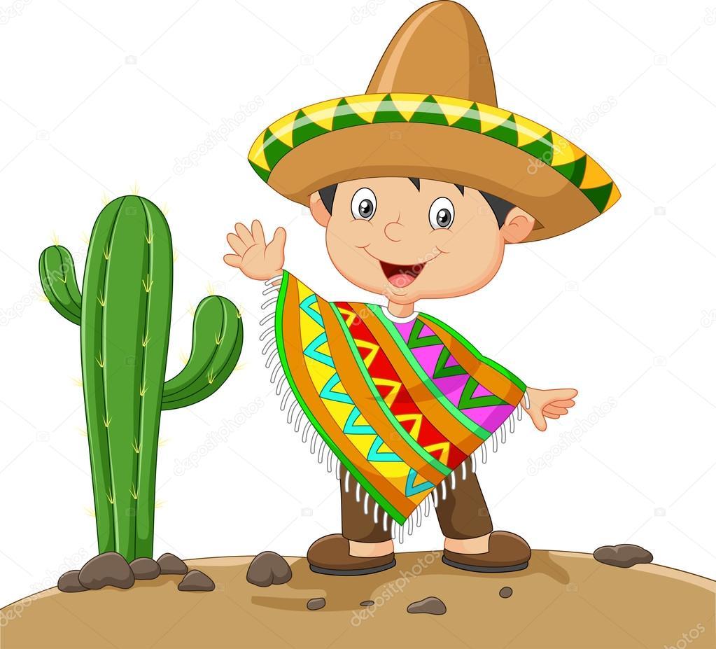 Niño de dibujos animados vestido mexicano — Archivo ...