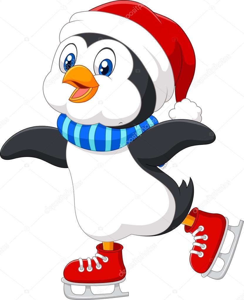 Pingouin dessin anim mignon faire fond isol sur blanc de patinage sur glace image - Dessin anime les pingouins ...