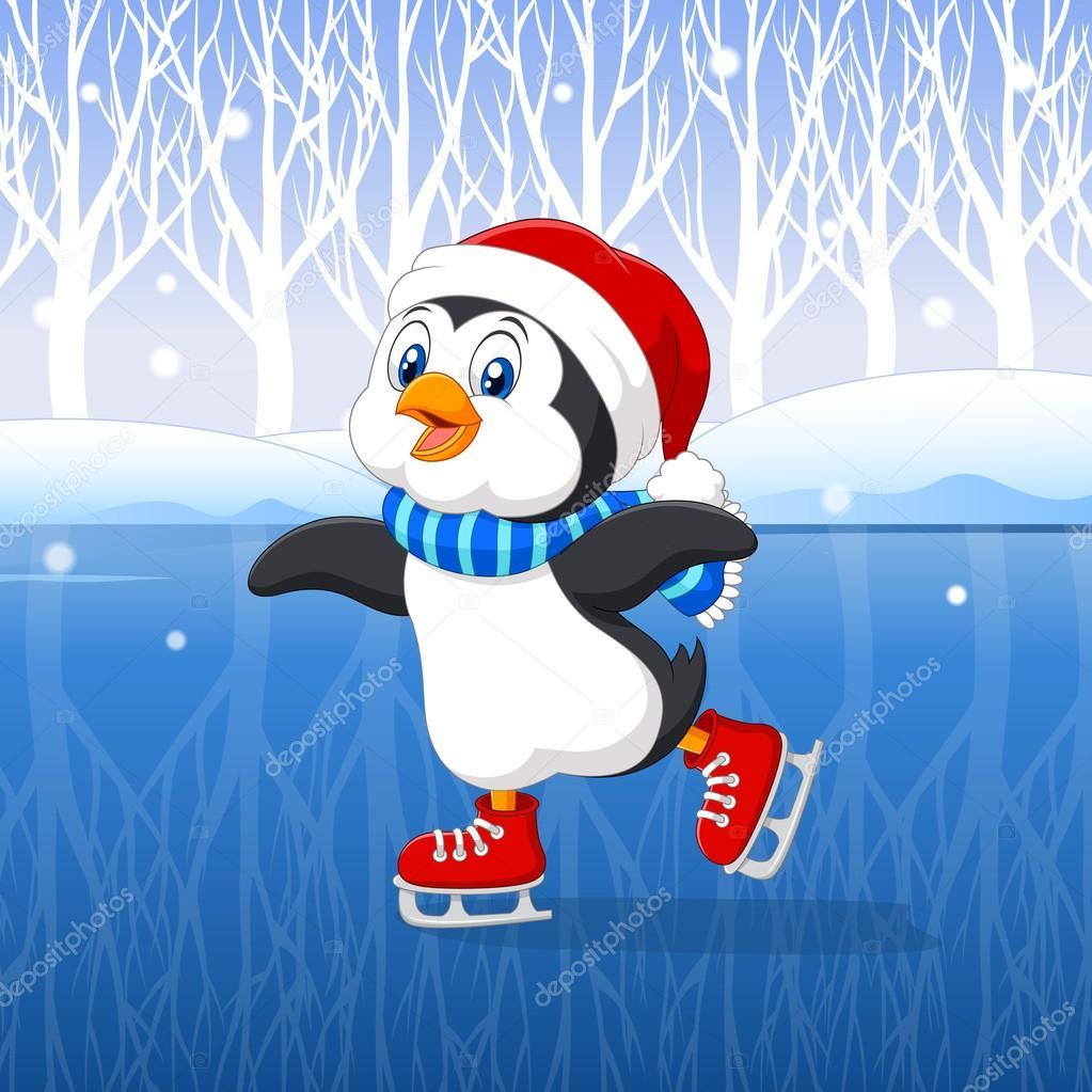 Pingouin dessin anim mignon faire patinoire avec fond hiver image vectorielle tigatelu - Dessin patinoire ...
