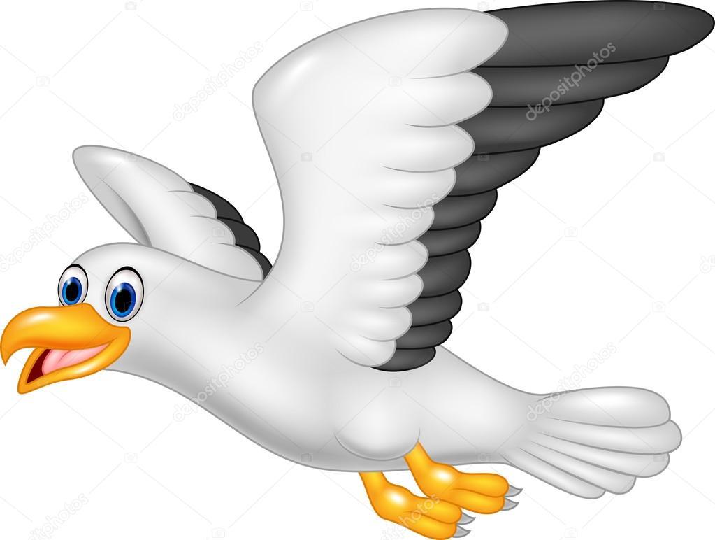 矢量图的卡通飞行海鸥白色背景上孤立– 图库插图