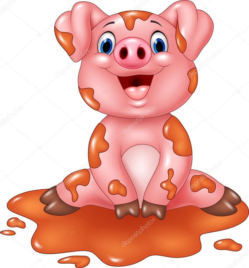 Cerdo de dibujos animados jugar en un charco barro