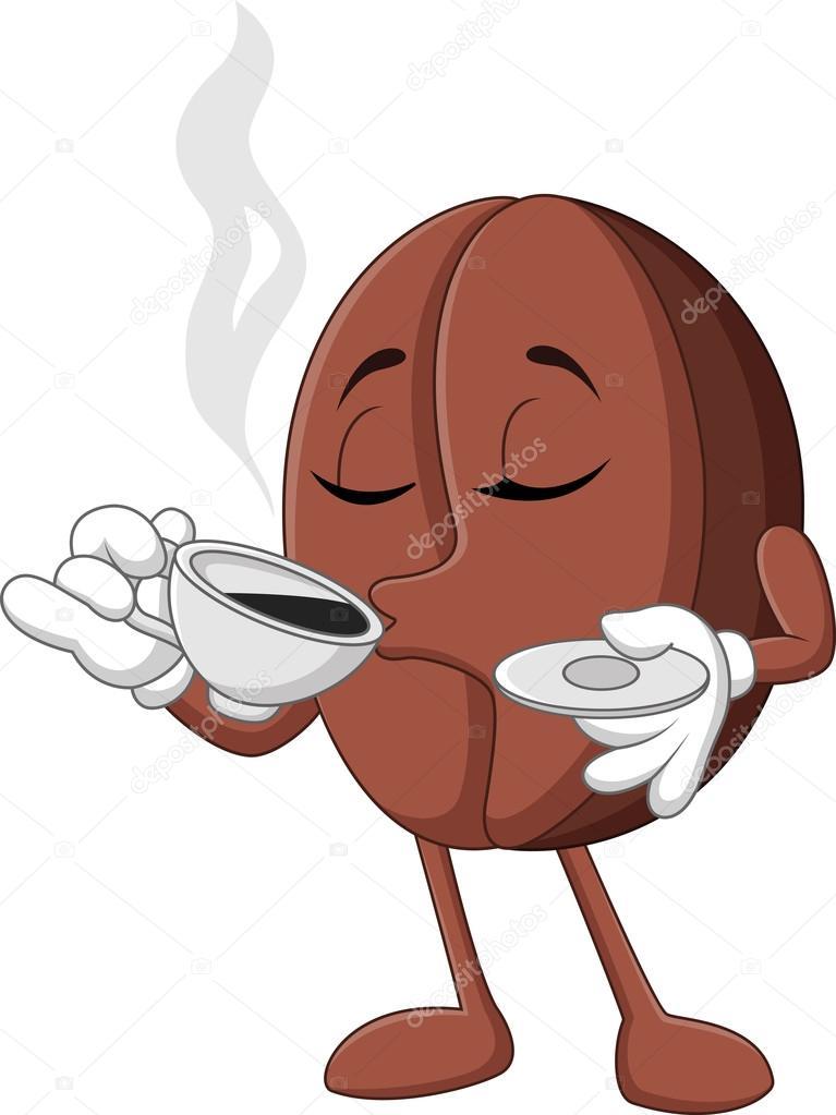 cartoon lustig kaffeebohne kaffee trinken stockvektor tigatelu 99163558. Black Bedroom Furniture Sets. Home Design Ideas