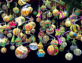 Lots of colorful balls and other Christmas tree decoration — Stock Photo