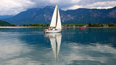 Sailboat on the lake Caldonazzo — Stock Photo