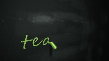 Drawing word teaching on chalkboard — Stock Video