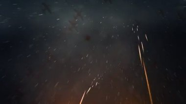 Planes flying overhead with tracers or projectiles — Stock Video