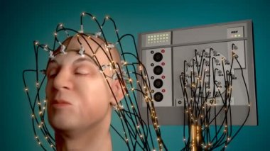 Man wired to an EEG machine or electroencephalograph — Stock Video