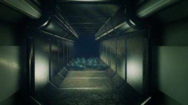 Long straight spacecraft corridor with no windows — 图库视频影像