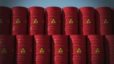 Biohazard barrels close up — Stock Video