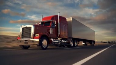 18 Wheel Truck on the road — Stock Video