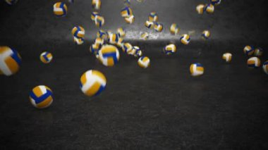 Volleyballs bouncing and rolling — Stock Video